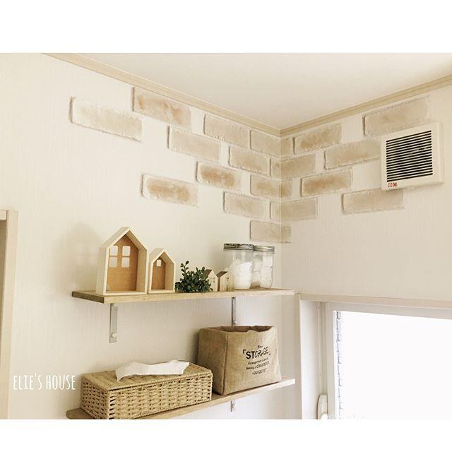 洗面所のデッドスペースに手作り棚を設置