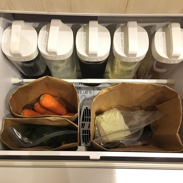 大きいボトル調味料は詰め替えて野菜室へ