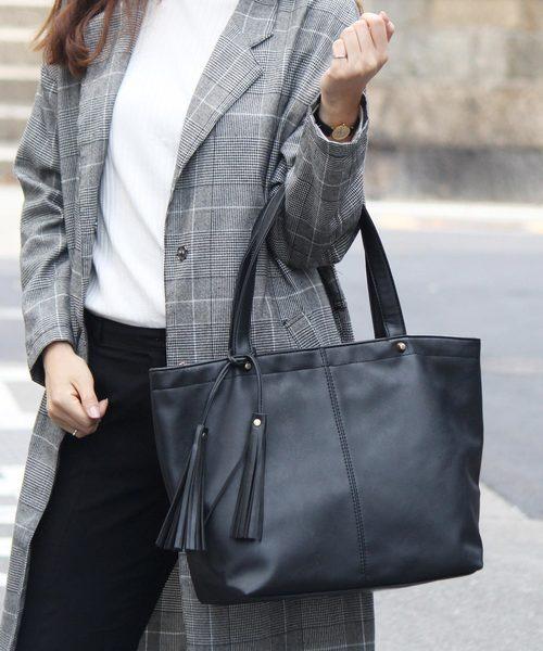 [VitaFelice] A4サイズ収納可 タッセル付きBIGトートバッグ 通勤通学バッグ サマーバッグ