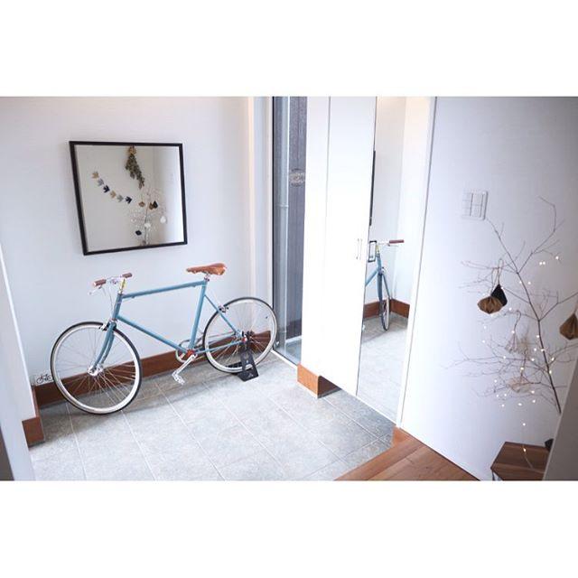 自転車をオブジェとして取り入れたインテリア
