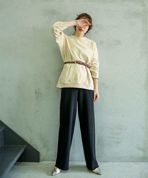 6月の軽井沢:ニットワイドパンツの服装