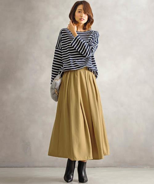[Pierrot] タックロング フレアスカート