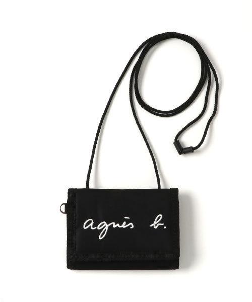 [agnes b.] GL11 E BAG ロゴ刺繍 パスケース/財布