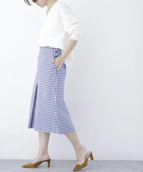 [nano・universe] 【SPRiNG 6月号掲載】【mina 4月号掲載】 ギンガムダブルスリットスカート