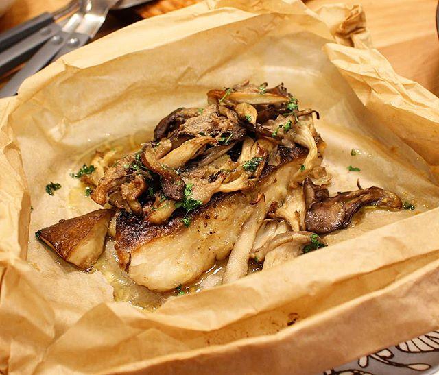 白身魚ときのこのカルトッチョ