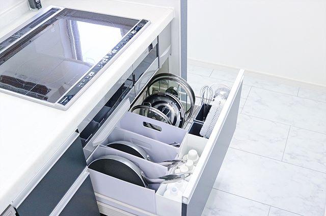 大きな調理器具は立てて収納