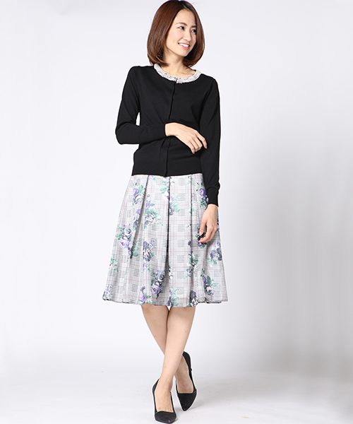 [ketty online store] チェックオンフラワープリントスカート