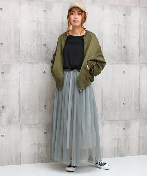 [Social GIRL] チュールフレアボリュームロングマーメイドスカート