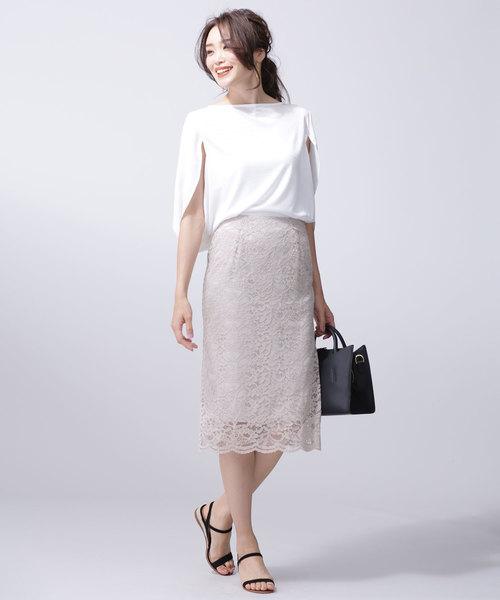 ケープ袖×タイトスカートの涼やかコーデ