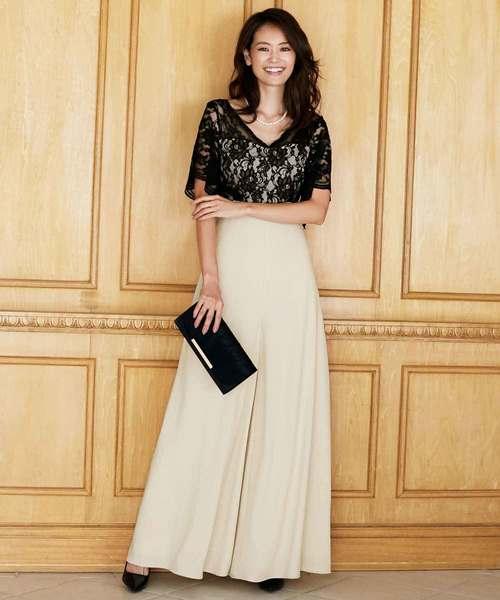 [C.R.E.A.M] レース オールインワン ロング ワイドパンツ パンツ ドレス 結婚式 フォーマル パーティードレス