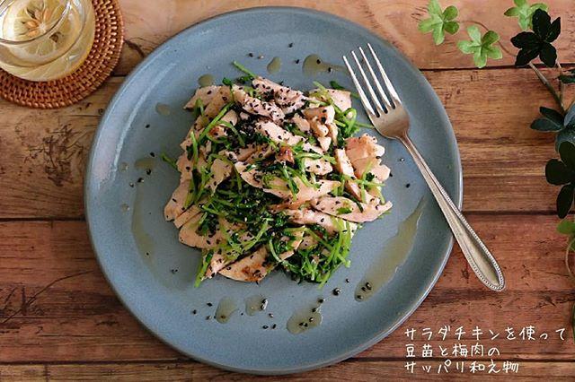 おすすめの副菜に!サラダチキンと豆苗の和え物
