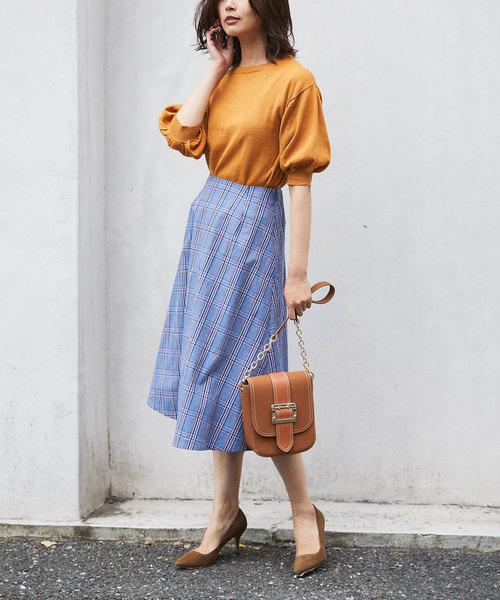 [tocco closet] カラーミックスグレンチェックサーキュラースカート