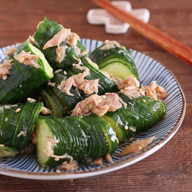 天ぷらにもう一品!蛇腹きゅうりとツナのサラダ
