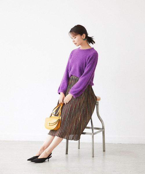 [tocco closet] カラフルシャイニープリーツスカート