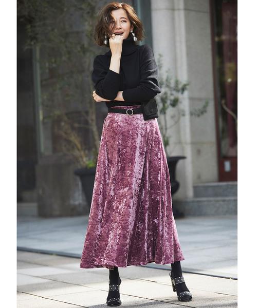 [tocco closet] クラッシュベロアマキシスカート