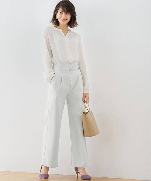 [Pierrot] ベルト付き セミワイドパンツ/ロング丈