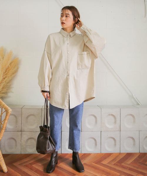 [select MOCA] 2020S/S ステッチオーバーサイズシャツ(綿100ルーズシルエットスナップボタン長袖シャツ)