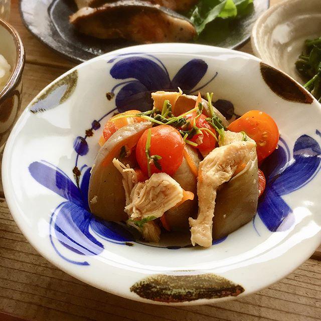 炊き込みご飯のおかず!なすと蒸し鶏の中華和え