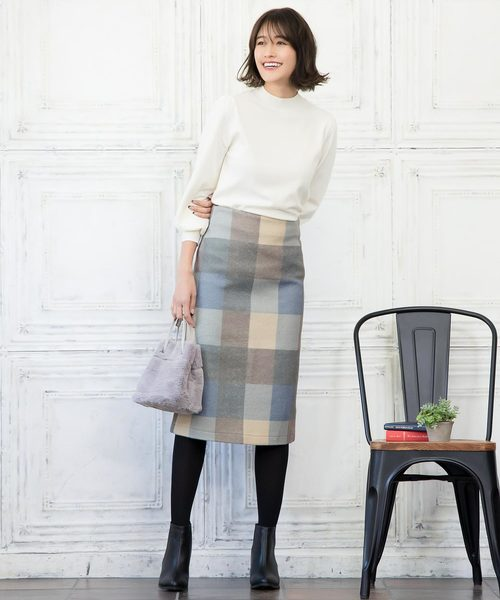[kobelettuce] ブロックチェックタイトスカート*レディース/ボトムス/ミモレ丈[M2364]神戸レタス