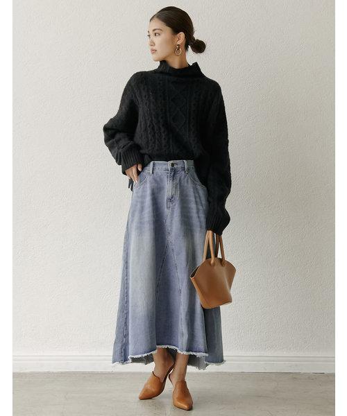 [Re:EDIT] ヴィンテージライクリメイク風デニムロングスカート