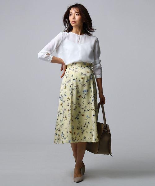 [UNTITLED] [L]【洗える】アーバンフラワーフレアスカート