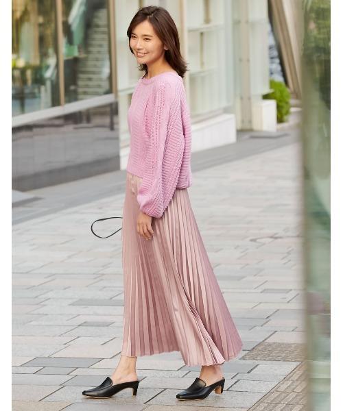 [Re:EDIT] ミディアム丈サテンプリーツスカート