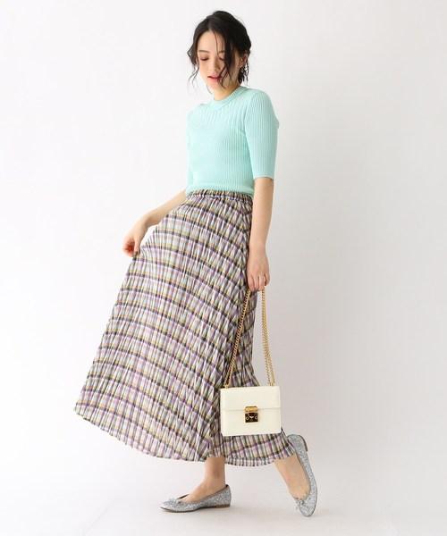 [aquagirl] チェックプリーツスカート