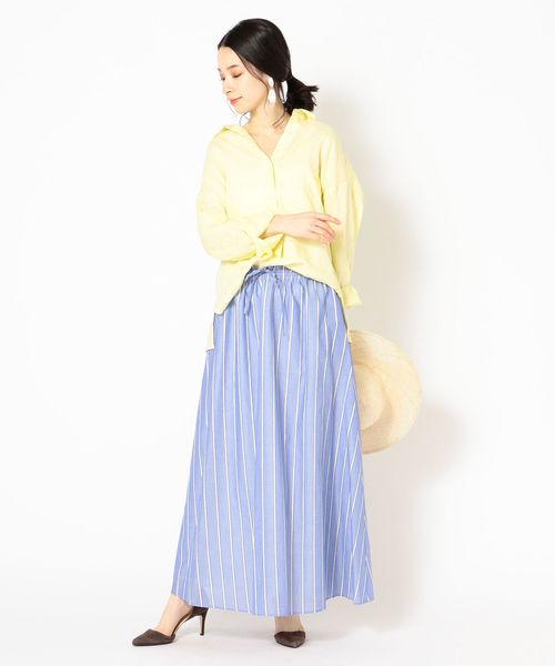 [SHIPS for women] コットンシルクストライプスカート◇