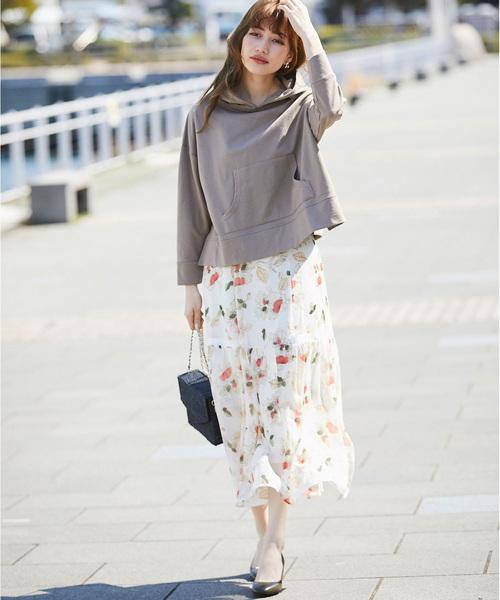 [tocco closet] ラメシースルーグログラン切替ロングフラワースカート