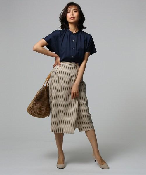 【夏】おしゃれブラウス×ラップ風スカート