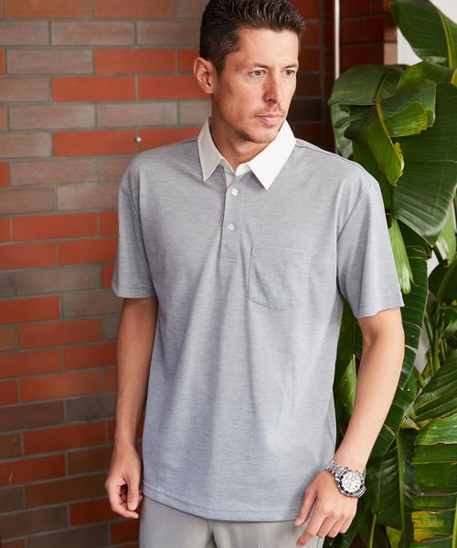 [BARK MANHATTAN] <接触冷感>サマー鹿の子ポロシャツ / レギュラーカラー ホリゾンタルカラー