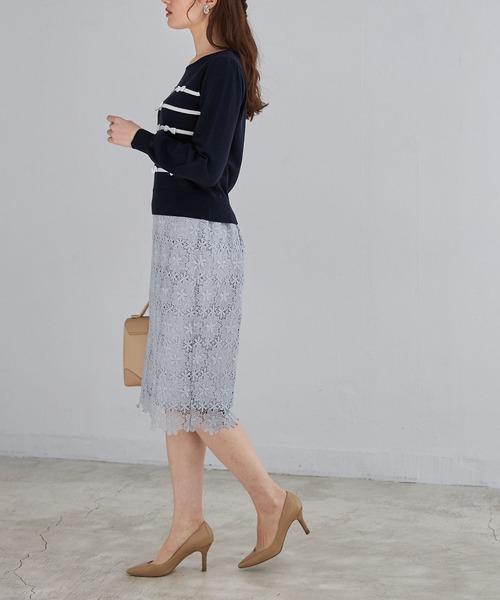 [tocco closet] フラワーレースタイトスカート