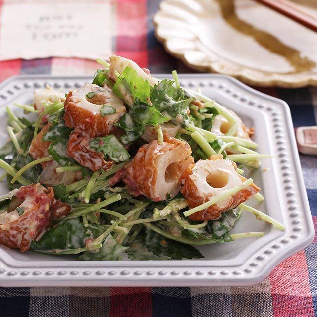 野菜炒めの副菜に!ちくわと三つ葉の梅マヨ和え