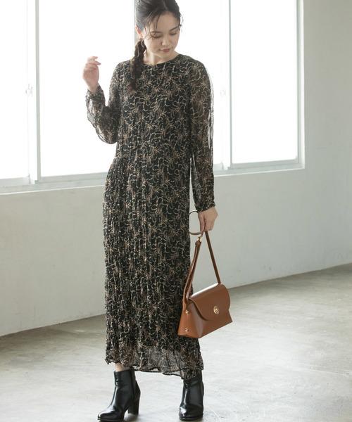 [ViS] 【WEB限定】シワ加工花柄ワンピース