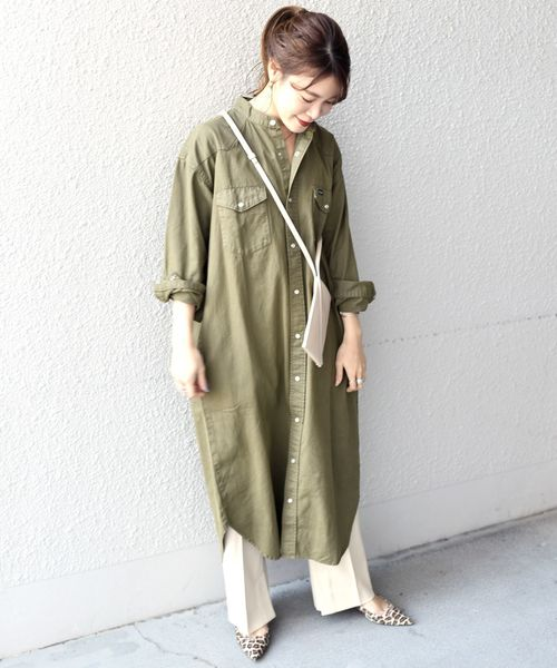 [SHIPS for women] 【SHIPS別注】Wrangler: ノーカラーデニムシャツワンピース◆