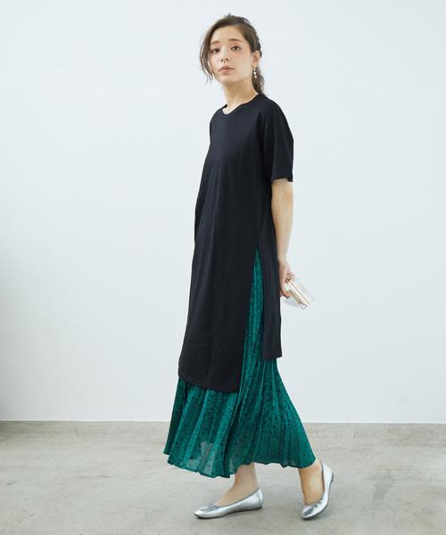 [ROPE' PICNIC] パネルフラワープリーツスカート
