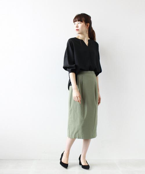 [DRESSLAVE] back rush basic tight skirt(サイドZIPストレッチタイトスカート)