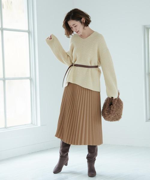 [ROPE' PICNIC] 【WEB限定】プレミアムフィールプリーツスカート