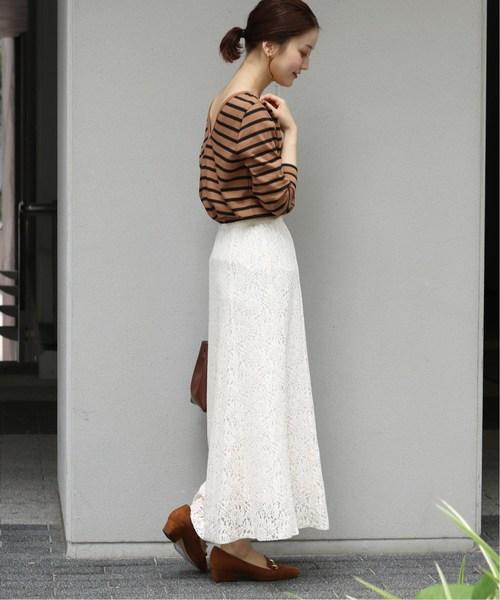 [IENA] フラワーレーススカート◆