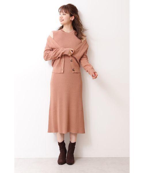 [PROPORTION BODY DRESSING] 【美人百花 掲載】カーデ&ノースリーブロングワンピ
