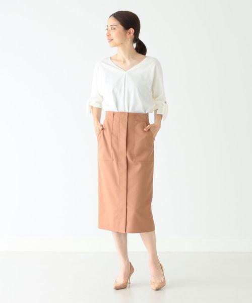 [BEAMS WOMEN] Demi-Luxe BEAMS / ハイウエスト ベイカースカート