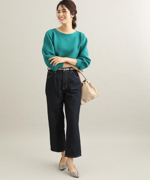 [ViS] ボートネックガーター編みボリュームスリーブプルオーバー