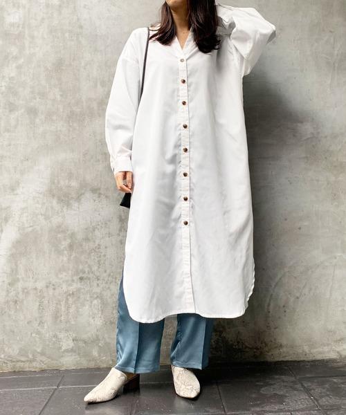 [Lian] ブロードバンドカラーシャツワンピース