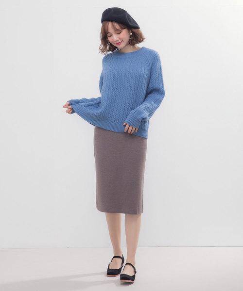 [SAISON DE PAPILLON] スリット入りIラインミモレ丈ニットスカート