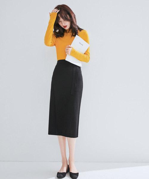 [SAISON DE PAPILLON] ウール混大人かわいい巻き風ミモレ丈ニットスカート