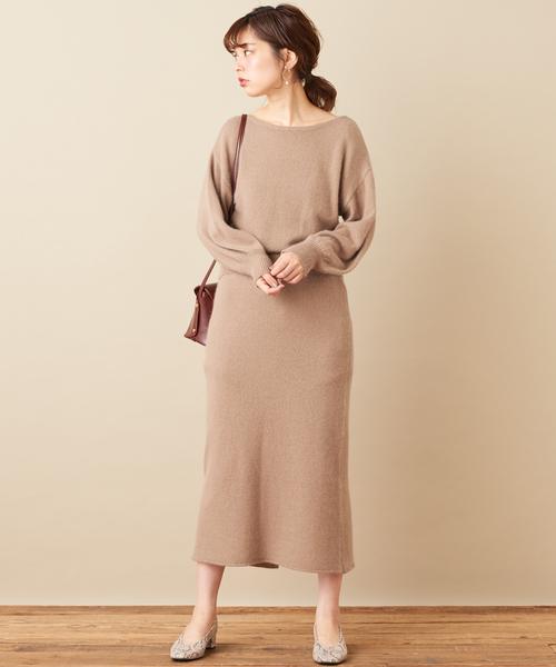 [natural couture] フォックス×アンゴラゆるタイトスカート