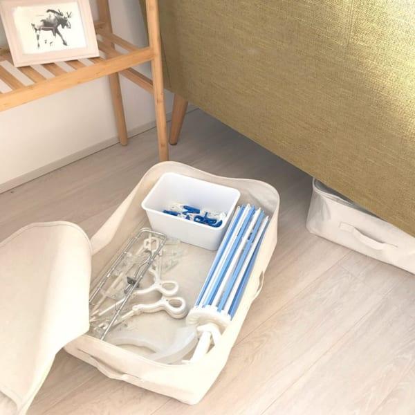無印良品のボックスを使った洗濯バサミ収納