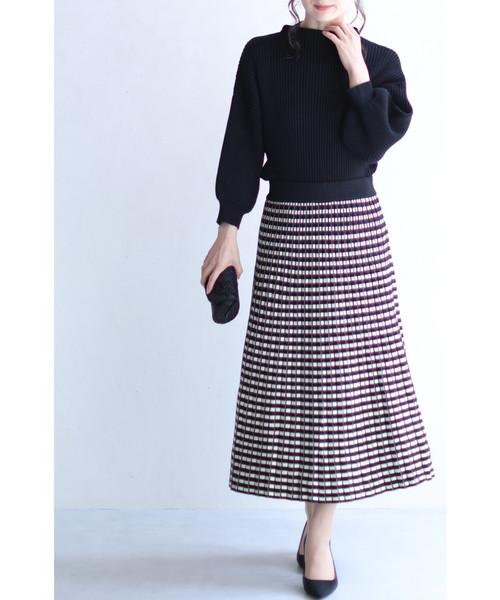 [FRENCH PAVE] 細やかなチェックの折りニットミディアムスカート