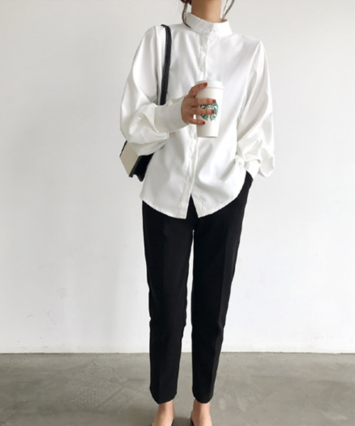 [JUNOAH] スタンドカラーボリュームスリーブシャツ