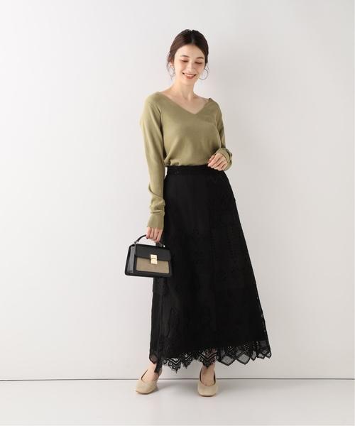 [IENA] SLOBE IENA Fi.m パッチワークレースロングスカート